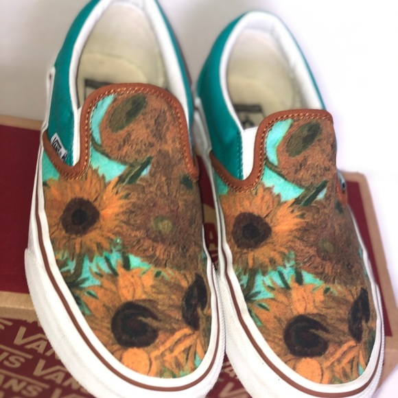 Custom made sunflower slip on vans for women